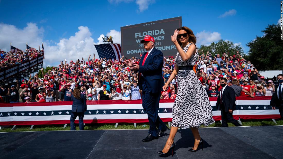 Trump and first lady Melania Trump attend a campaign rally in Tampa, Florida, on Thursday, October 29.