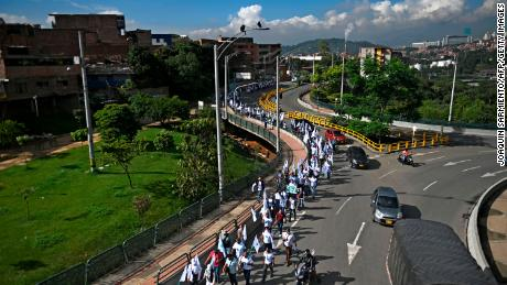 Aerial view of former FARC guerrilla fighters beginning a march toward Bogota on Oct. 29, 2020, demanding peace accords be respected.