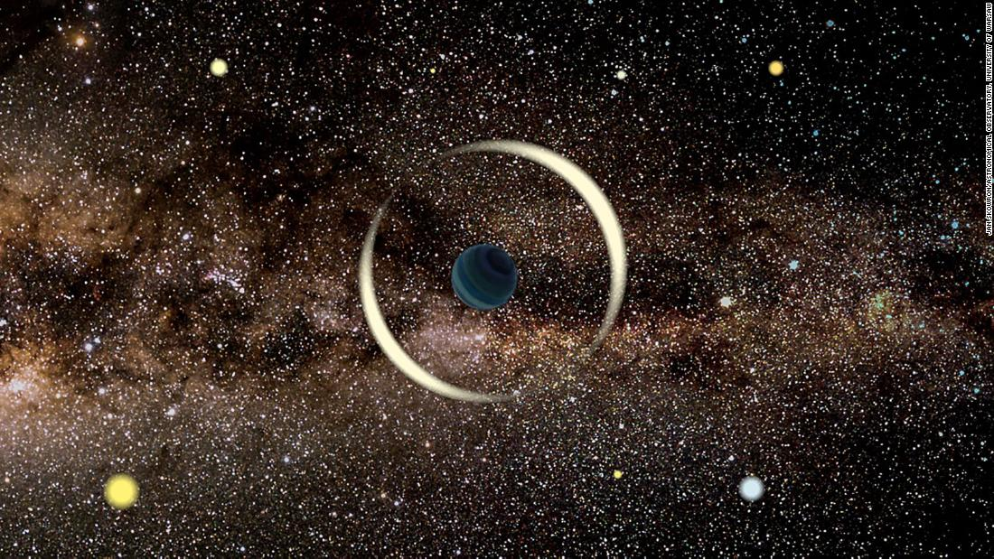 This is an artist's impression of a free-floating rogue planet being detected in our Milky Way galaxy using a technique called microlensing. Microlensing occurs when an object in space can warp space-time.