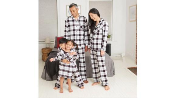 مجموعه لباس خواب های خانوادگی تطبیقی Flannel White Plaid Holiday