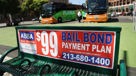 A sign advertises a bail bond company in Los Angeles.
