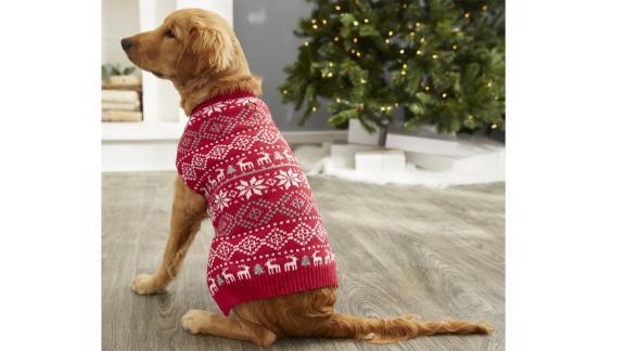 ژاکت مخصوص کریسمس سگ و گربه Frisbe Reindeer Fair Isle