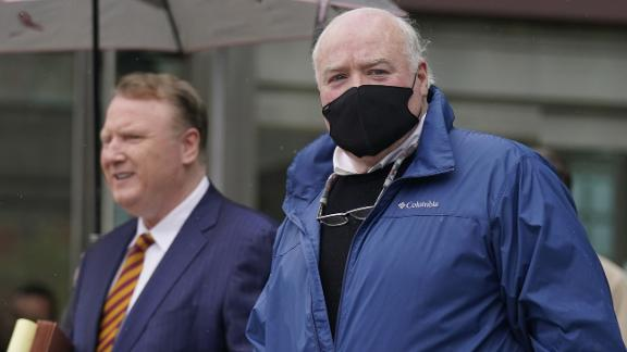Michael Skakel leaves a courthouse in Stamford, Conn., Oct. 30, 2020. A Connecticut prosecutor says the Kennedy cousin will not face a second trial in the 1975 murder of teenager Martha Moxley in Greenwich. Chief State's Attorney Richard Colangelo Jr. made the announcement Friday at the state courthouse in Stamford.  (AP Photo/Seth Wenig)