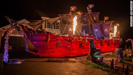 Fire engine on pirate ship.