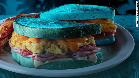 The sandwich, dubbed Blue Moons Over My Hammy, will be served at Miami locations of Denny's on Halloween.