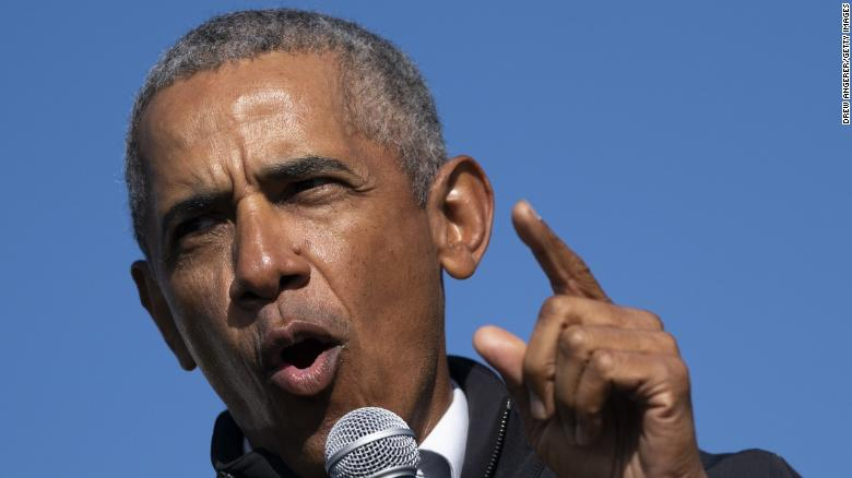 'Shoot your shot': Obama nails three-pointer while campaigning with Biden in Michigan