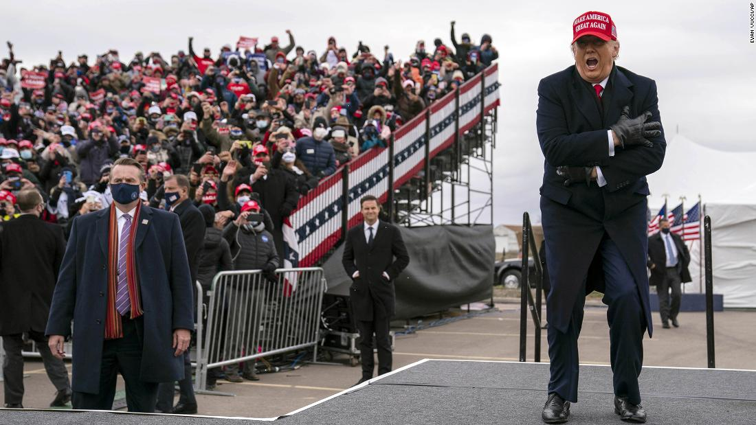Trump arrives at a rally in Waterford Township, Michigan, on Sunday, November 1.