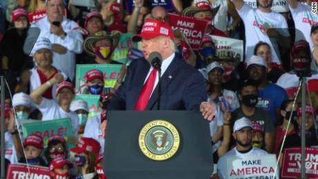 Trump at a rally where supporters chant 'fire Fauci'