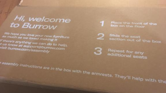 The instructions on the Burrow box