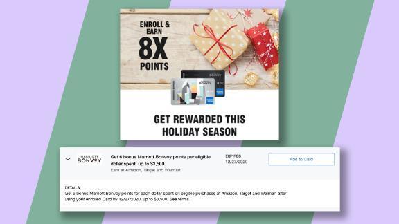 با استفاده از کارت اعتباری Marriott Amex و ثبت نام در این پیشنهاد Amex ، در ازای هر دلار هزینه آمازون ، Target و Walmart در فصل تعطیلات ، در مجموع 8 امتیاز کسب کنید.