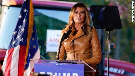 First lady Melania Trump speaks during a campaign rally at Magnolia Woods on Monday, Nov. 2, 2020, in Huntersville, N.C.