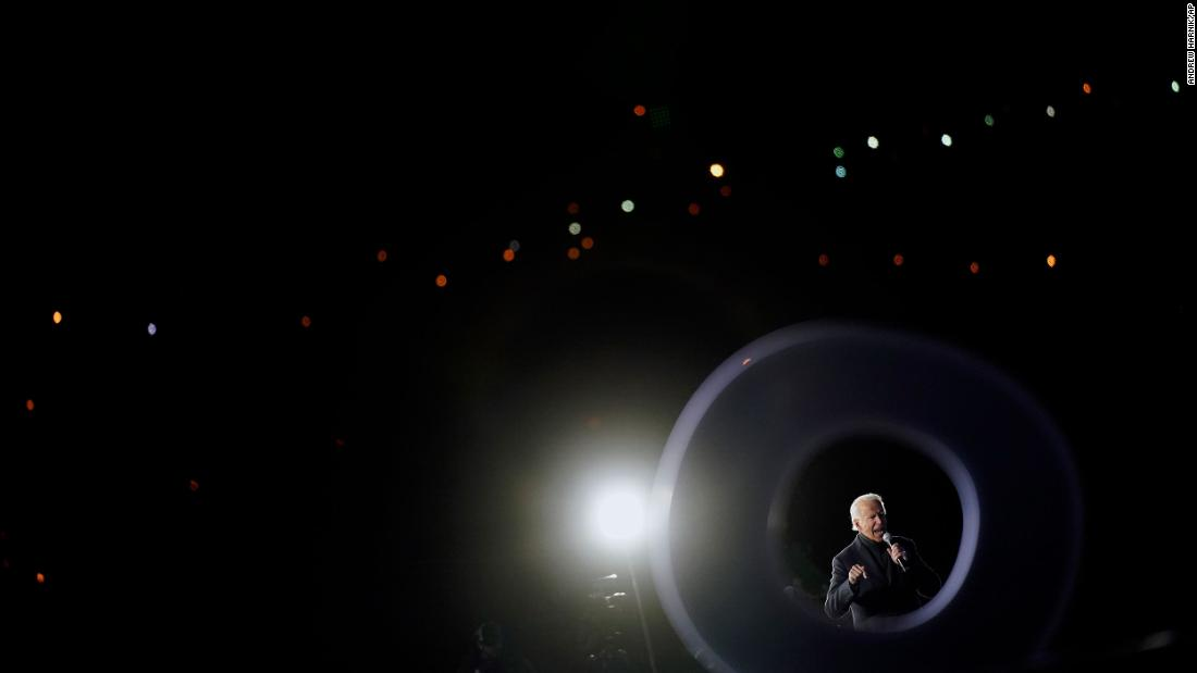 Biden speaks at a drive-in rally in Pittsburgh on November 2.