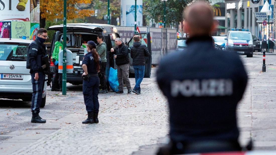 Austrian police at Morzinplatz in Vienna Tuesday following the attack.