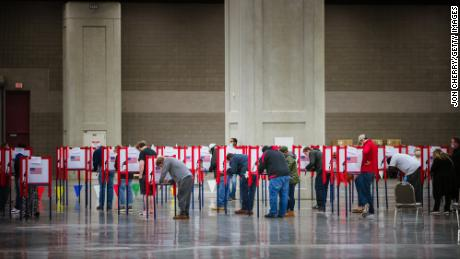 Voters cast ballots at the Kentucky Exposition Center on November 3, 2020, in Louisville, Kentucky.