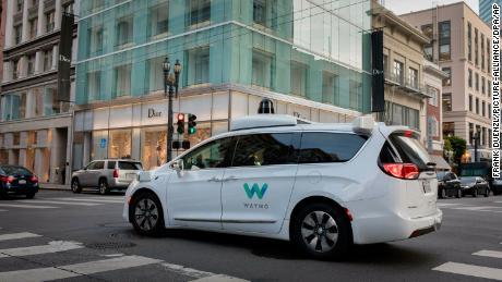 A Waymo self-driving car in San Francisco in 2018.