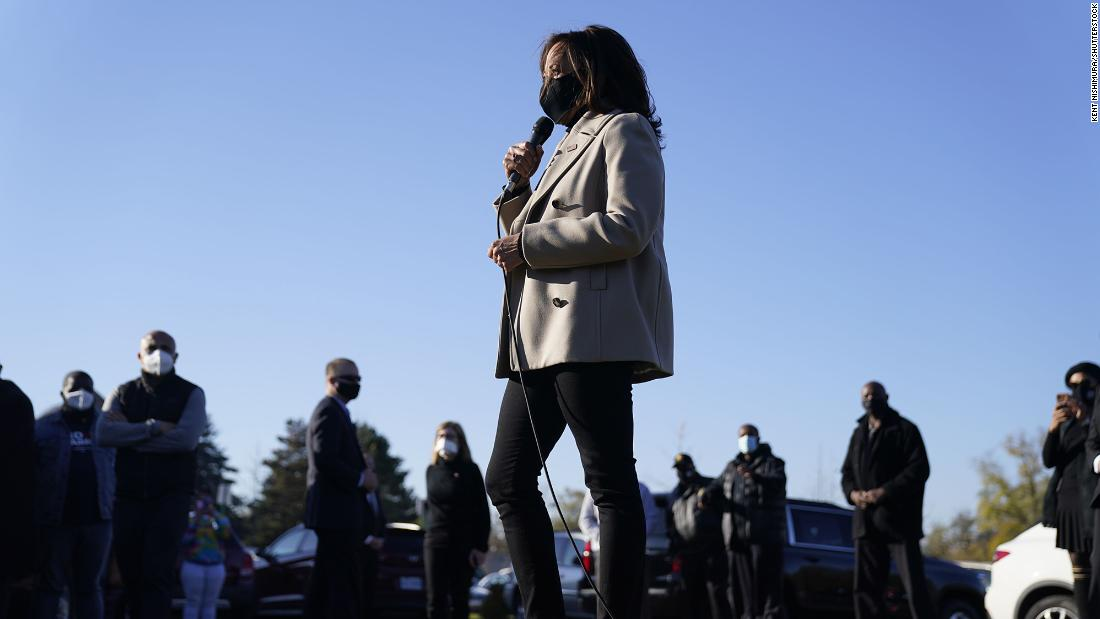 "US Sen. Kamala Harris, Biden's running mate, visits a polling location in Detroit on Election Day. During <a href=""https://www.cnn.com/politics/live-news/election-results-and-news-11-03-20/h_a217d48cf5e1cc4bcaf3f5011c183030"" target=""_blank"">her surprise stop,</a> she thanked voters for waiting in line."