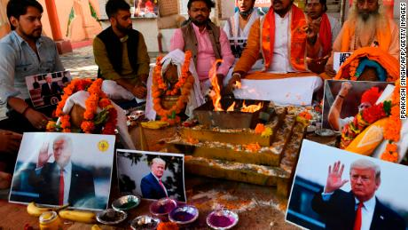 Hindu Sena members hold a prayer ceremony for Trump in New Delhi.