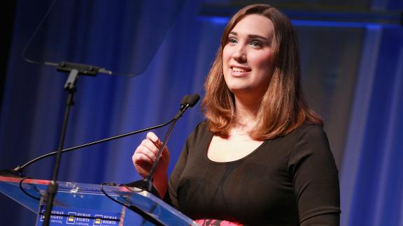 LOS ANGELES, CA - MARCH 10:  Sarah McBride, National Press Secretary for the HRC Foundation, speaks onstage at The Human Rights Campaign 2018 Los Angeles Gala Dinner at JW Marriott Los Angeles at L.A. LIVE on March 10, 2018 in Los Angeles, California.  (Photo by Rich Fury/Getty Images for Human Rights Campaign (HRC))