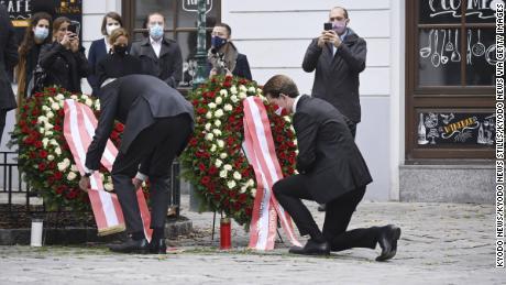 Austrian Prime Minister Sebastian Kurz knelt and laid a wreath on Tuesday near the site of the attack.