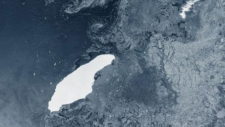 The A68 iceberg, seen from space in July.