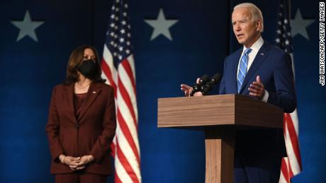 Biden speaks to his supporters at a drive-in rally on Wednesday, November 4.