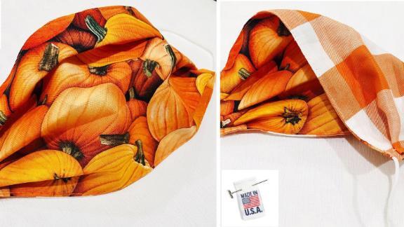 Pumpkin Print Handmade Face Mask
