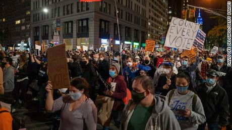 Protesters hit the streets on Wednesdsay as presidential election results remain uncertain in New York City.