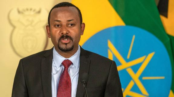 Ethiopia's Prime Minister Abiy Ahmed speaks during a joint media conference with South African President Cyril Ramaphosa after their talks at the Union Building in Pretoria, South Africa, Sunday, Jan. 12, 2020. (AP Photo/Themba Hadebe)