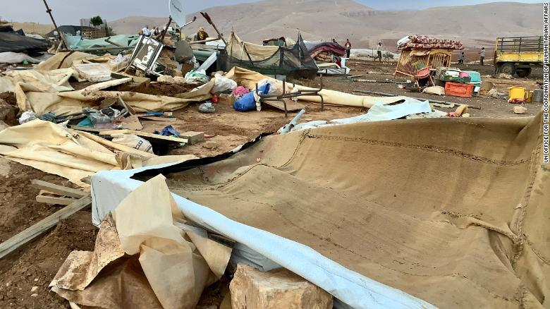 Khirbet Humsa on November 4 in the aftermath of the demolition.
