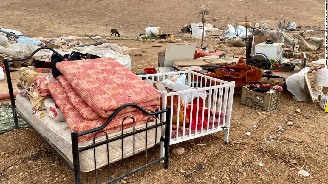 The remaining contents of households in the community of Khirbet Humsa in the West Bank on November 4.