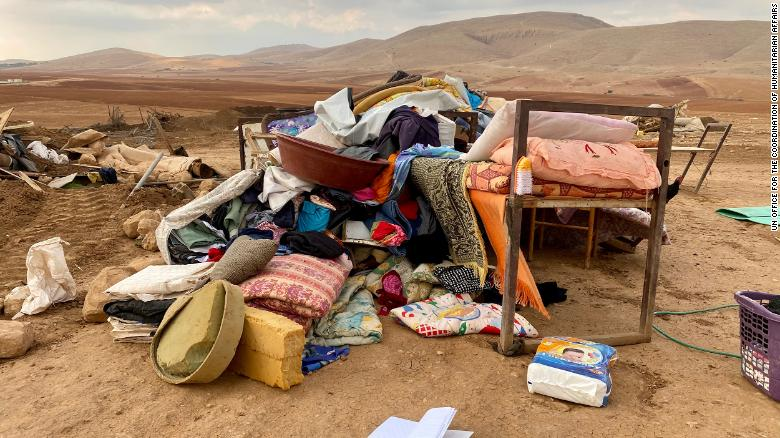 The UN said 73 people were displaced by the demolition in Khirbet Humsa on Tuesday.