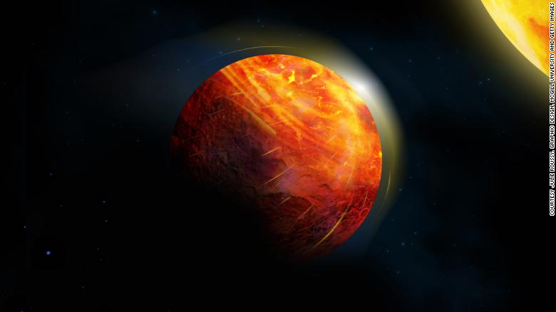 An artist's impression of the lava planet K2-141b: At the center of the large illuminated region, there is an ocean of molten rock overlain by an atmosphere of rock vapor.