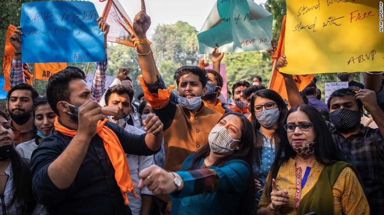 Members of rightwing Akhil Bhartiya Vidhyarthi Parishad (ABVP) shout slogans against Maharashtra state government as they protest the arrest of television news anchor Arnab Goswami in in New Delhi, India, Thursday, Nov. 5, 2020.
