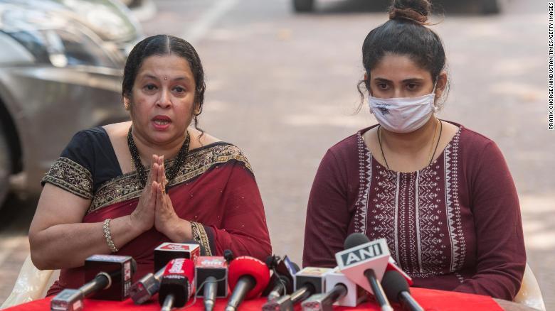 Anvay Naik's wife Akshata Naik and daughter Adnya Naik address media during a press conference after Arnab Goswami's arrest on November 4, 2020 in Mumbai, India.