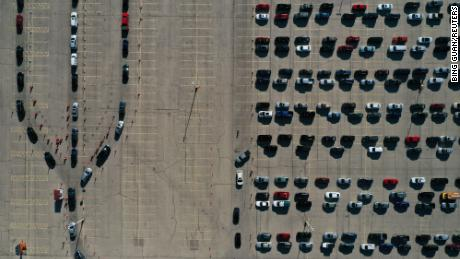 Aerial images of vehicles lining up at COVID-19 test site driving through the Alliant Energy Center complex, as the coronavirus outbreak continues to break out in Madison, Dane County, Wisconsin, on May 5 November 2020.