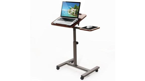 "Seville Classics 27.8"" Tilting Sit-Stand Height Adjustable Mobile Laptop Computer Desk Cart with Mouse Side Ergonomic Table"