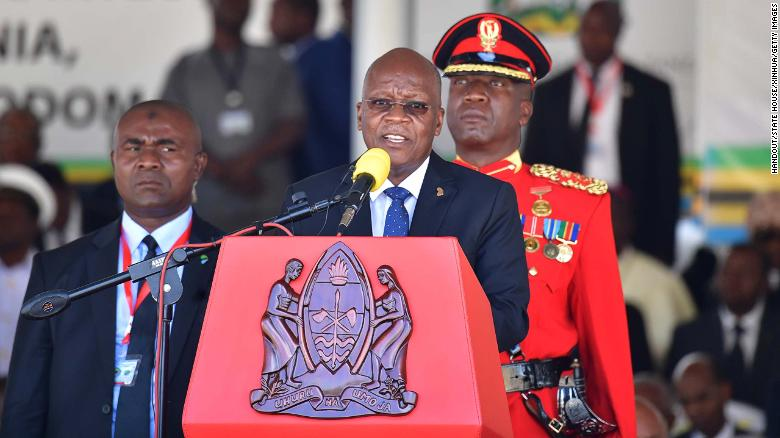 Tanzania's newly re-elected President John Magufuli speaks at his inauguration ceremony on November 5.