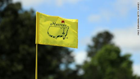 A pin flag is seen during a practice round prior to the Masters in 2019.