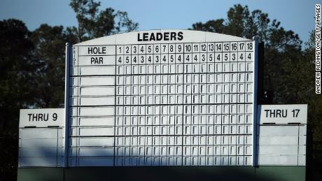 A general view of the leaderboard during a practice round prior to the Masters.