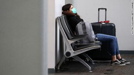 A tourist waiting for a flight at the San Francisco international airport.