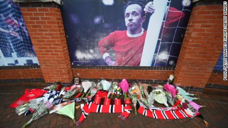 Tributes are paid to Nobby Stiles outside Old Trafford ahead of his former side Manchester United's game against Arsenal earlier this month.