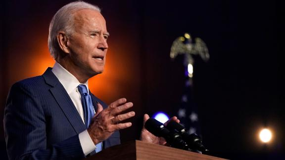 Joe Biden speaks in Wilmington, Delaware, on Friday, November 6. The next day, he became President-elect.