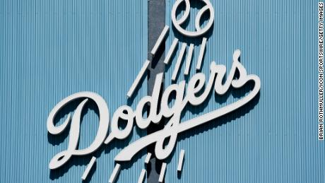 A Dodgers logo outside Dodger Stadium in Los Angeles, California.