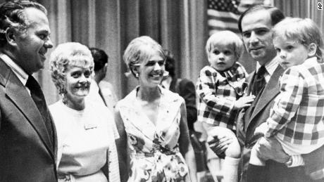 Biden carries his sons Beau, left, and Hunter while attending a Democratic convention in Delaware in 1972. At center is his wife Neilia Biden, who was killed in an auto crash, December 20, 1972. With them are Gov.-elect Sherman W. Tribbitt and his wife, Jeanne.