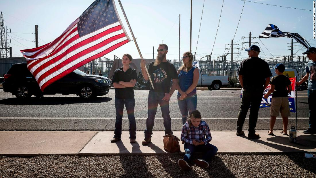 Supporters of US President Donald Trump demonstrate in front of the Maricopa County Election Department in Phoenix, on November 7, 2020.