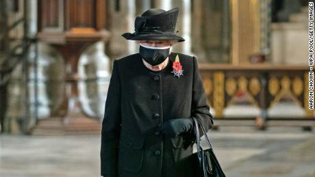 The Queen during a ceremony in Westminster Abbey to mark the centenary of the burial of the Unknown Warrior on November 4.