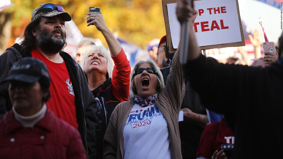 Hundreds of Donald Trump supporters gather in the state capital of Pennsylvania to display their anger at the outcome of the election hours after the state was called for Joe Biden on November 07, 2020.