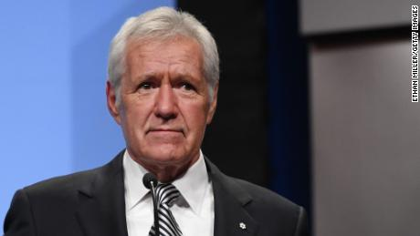 "LAS VEGAS, NV - APRIL 09:  ""Jeopardy!"" host Alex Trebek speaks as he is inducted into the National Association of Broadcasters Broadcasting Hall of Fame during the NAB Achievement in Broadcasting Dinner at Encore Las Vegas on April 9, 2018 in Las Vegas, Nevada. NAB Show, the trade show of the National Association of Broadcasters and the world's largest electronic media show, runs through April 12 and features more than 1,700 exhibitors and 102,000 attendees.  (Photo by Ethan Miller/Getty Images)"