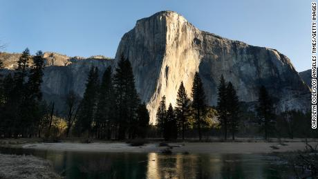 Emily Harrington scaled the massive 3,000-foot granite face of El Capitan on Wednesday in Yosemite National Park.