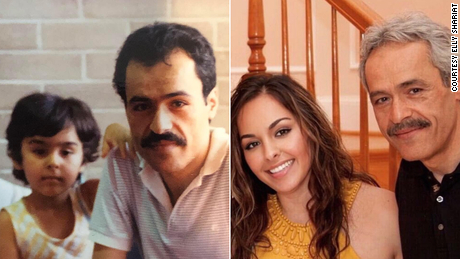 Elly Shariat, seen as a child and an adult with her mustachioed father, took solace in the fact that Alex Trebek looked like her dad.